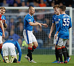 Rangers captain Kenny Miller tryiung to talk the youngsters through the game