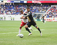 Nick Zimmerman #23 of the Philadelphia Union battles for the ball with Jeremy Hall #17 of the New York RedBulls during a MLS  match on April 24 2010, at RedBull Arena, in Harrison, New Jersey. RedBulls won 2-1.
