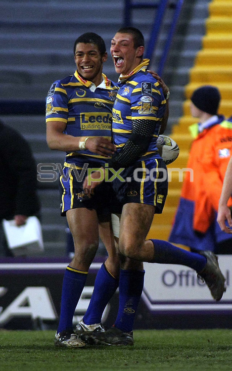 PICTURE BY VAUGHN RIDLEY/SWPIX.COM - Rugby League - Superleague - Leeds v Wigan - Headingley, Leeds, England  - 13/03/09...Copyright - Simon Wilkinson - 07811267706...Leeds Kallum Watkins and Ryan Hall celebrate Hall's second try.