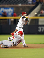 Stephen Drew / Arizona Diamondbacks completes a double play against the Cincinnati Reds at Chase Field, Phoenix, AZ  - 09/12/2008..Photo by:  Bill Mitchell/Four Seam Images