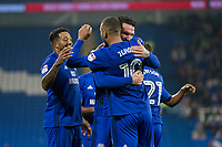 Kenneth Zohore of Cardiff City is congratulated by Sean Morrison after scoring his side's third goal during the Sky Bet Championship match between Cardiff City and Leeds United at the Cardiff City Stadium, Cardiff, Wales on 26 September 2017. Photo by Mark  Hawkins / PRiME Media Images.