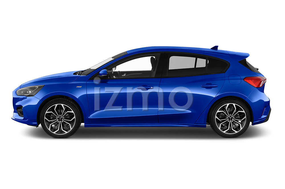 Car driver side profile view of a 2018 Ford Focus ST Line Business 4 Door Hatchback