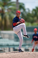 GCL Red Sox pitcher Jorge Rodriguez (25) during a Gulf Coast League game against the GCL Orioles on July 29, 2019 at Ed Smith Stadium in Sarasota, Florida.  GCL Red Sox defeated the GCL Pirates 9-1.  (Mike Janes/Four Seam Images)