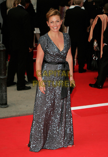 DAVINA McCALL.Red Carpet Arrivals at The British Academy Television Awards (BAFTA) Sponsored by Pioneer, held at the London Palladium, London, England. .May 20th 2007.full length long grey gray maxi wrap sequined shiny dress black bow.CAP/AH.©Adam Houghton/Capital Pictures