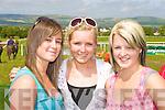 Pretty Shauna O'Connor Ballybunion, Kate O'Brien Dingle and Kate Lenihan Athea at the 150th Castleisland races on Saturday
