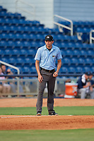 Umpire Emil Jimenez during a Southern League game between the Mobile BayBears and Pensacola Blue Wahoos on July 25, 2019 at Blue Wahoos Stadium in Pensacola, Florida.  Pensacola defeated Mobile 2-1 in the first game of a doubleheader.  (Mike Janes/Four Seam Images)