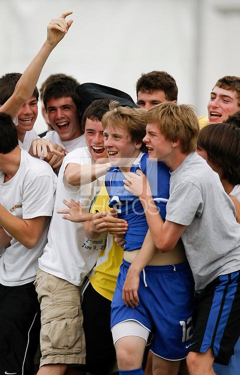 Joseph Schmid (12) of the Academy Select Team celebrates scoring a goal. The US U-17 Men's National Team defeated the Development Academy Select Team 5-3 during day two of the US Soccer Development Academy  Spring Showcase in Sarasota, FL, on May 23, 2009.