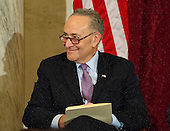 United States Senator Chuck Schumer (Democrat of New York), the incoming US Senate Minority Leader attends the ceremony where the official portrait of US Senate Minority Leader Harry Reid (Democrat of Nevada) is to be unveiled in the Kennedy Caucus Room on Capitol Hill in Washington, DC on Thursday, December 8, 2016.<br /> Credit: Ron Sachs / CNP