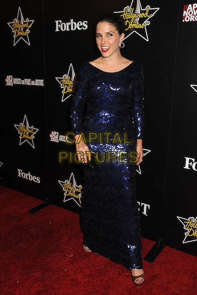 Sophia Bush.5th Annual Hollywood Domino Gala & Tournament held at the Sunset Tower Hotel, West Hollywood, California, USA..February 23rd, 2012.full length blue dress sequins sequined clutch bag black.CAP/ADM/BP.©Byron Purvis/AdMedia/Capital Pictures.