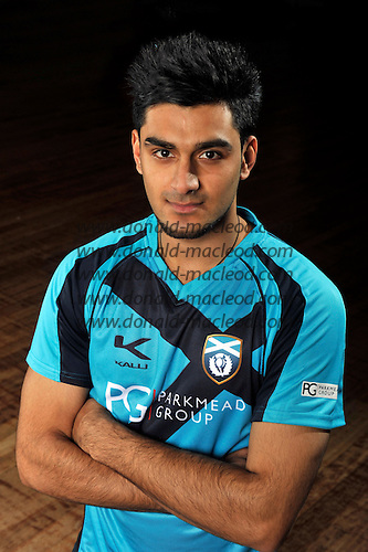 Cricket - Scotland player Safyaan Sharif in 1-day kit - picture by Donald MacLeod -10.02.13 - 07702 319 738 - clanmacleod@btinternet.com - www.donald-macleod.com
