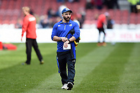 Jameson Mola of Bath Rugby looks on during the pre-match warm-up. Gallagher Premiership match, between Gloucester Rugby and Bath Rugby on April 13, 2019 at Kingsholm Stadium in Gloucester, England. Photo by: Patrick Khachfe / Onside Images