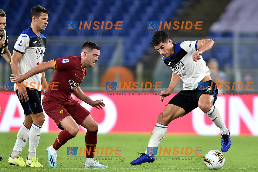 Jordan Veretout of AS Roma , Ruslan Malinovskyi of Atalanta BC <br /> Roma 25-9-2019 Stadio Olimpico <br /> Football Serie A 2019/2020 <br /> AS Roma - Atalanta Bergamasca Calcio <br /> Foto Andrea Staccioli / Insidefoto
