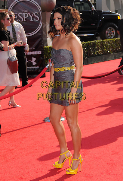 DANICA PATRICK.The 2008 ESPY Awards held at The Nokia Center in Los Angeles, California, USA..July 16th, 2008              .full length purple grey gray strapless dress yellow belt t-bar shoes .CAP/DVS.©Debbie VanStory/Capital Pictures.