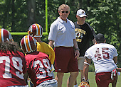 Washington Redskins head coach Joe Gibbs speaks to his players during the team's mini-camp at Redskins Park in Ashburn, Virginia on June 16, 2006.<br /> Credit: Arnie Sachs / CNP