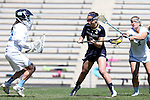03 April 2016: Notre Dame's Rachel Sexton (5) gets behind North Carolina's Mallory Frysinger (1) and scores a goal past Caylee Waters (left). The University of North Carolina Tar Heels hosted the University of Notre Dame Fighting Irish in a 2016 NCAA Division I Women's Lacrosse match. Maryland won the game 14-8.