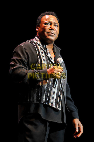 George Benson performing live in concert, Royal Albert Hall, Kensington, London, England. .28th June 2012.on stage in concert live gig performance music half length black shirt grey gray stripe    .CAP/MAR.© Martin Harris/Capital Pictures.