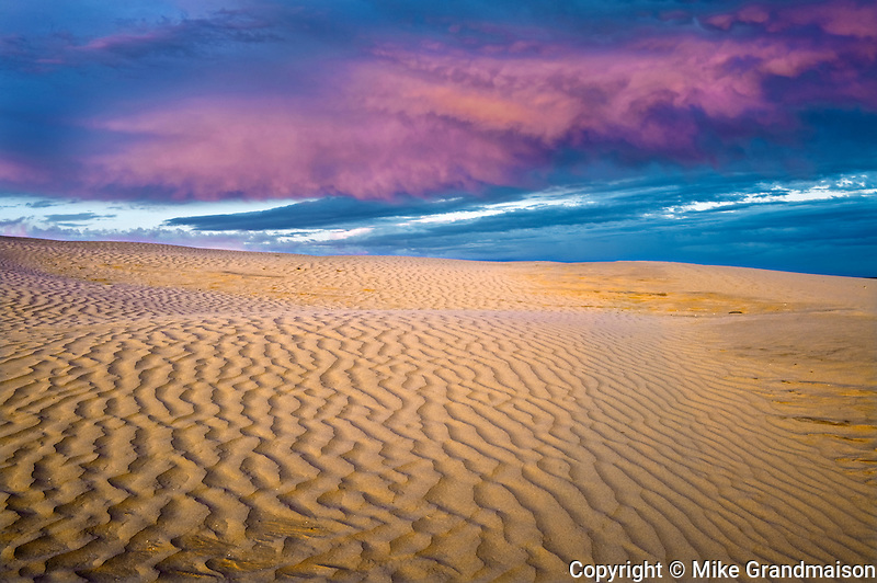 Ripples and sand dunes at sunset<br /> Great Sand Hills<br /> Saskatchewan<br /> Canada