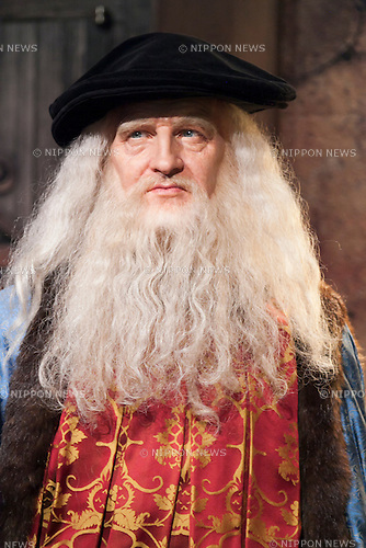 A wax figure of Leonardo da Vinci, Italian polymath on display at the Madame Tussauds Tokyo wax museum in Odaiba, Tokyo, June 15, 2015. The world famous British wax museum ''Madame Tussauds'' opened its 14th permanent branch in Tokyo in 2013 and exhibits international and local celebrities, sports players and politicians. New additions to the collection include wax figures of the Japanese figure skater Yuzuru Hanyu and the actor Benedict Cumberbatch. The wax figure of Benedict Cumberbatch will be exhibited until June 30th. (Photo by Rodrigo Reyes Marin/AFLO)