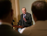 United States Senate Minority Leader Chuck Schumer (Democrat of New York) speaks to the media about the nomination of William Barr to be Attorney General, January 16, 2019, on Capitol Hill in Washington, DC. Credit: Chris Kleponis / CNP /MediaPunch