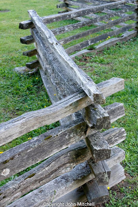 Split-rail wooden fence on Bowen island, British Columbia, Canada