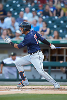 Victor Reyes (17) of the Toledo Mud Hens follows through on his swing against the Toledo Mud Hens at BB&T BallPark on April 24, 2019 in Charlotte, North Carolina. The Knights defeated the Mud Hens 9-6. (Brian Westerholt/Four Seam Images)