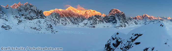 Winter landscape panoramic of Denali (Mt. McKinley) and Alaska range mountains at sunrise/dawn in Ruth Amphitheater and glacier