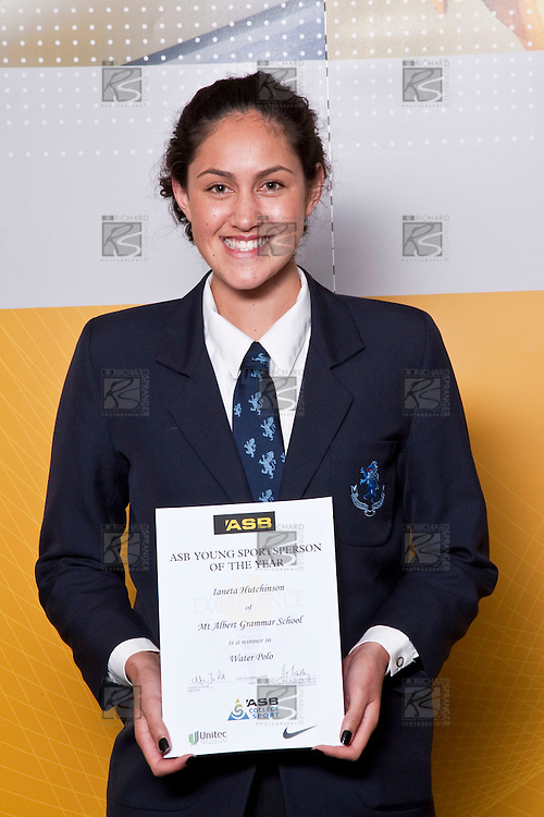 Girls Water Polo winner Ianeta Hutchinson from Mt Albrt Grammar School. ASB College Sport Auckland Secondary School Young Sports Person of the Year Awards held at Eden Park on Thursday 12th of September 2009.