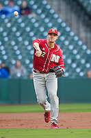 Nebraska Cornhuskers third baseman Blake Headley (22) makes a throw to first base during Houston College Classic against the Texas A&M Aggies on March 6, 2015 at Minute Maid Park in Houston, Texas. Texas A&M defeated Nebraska 2-1. (Andrew Woolley/Four Seam Images)