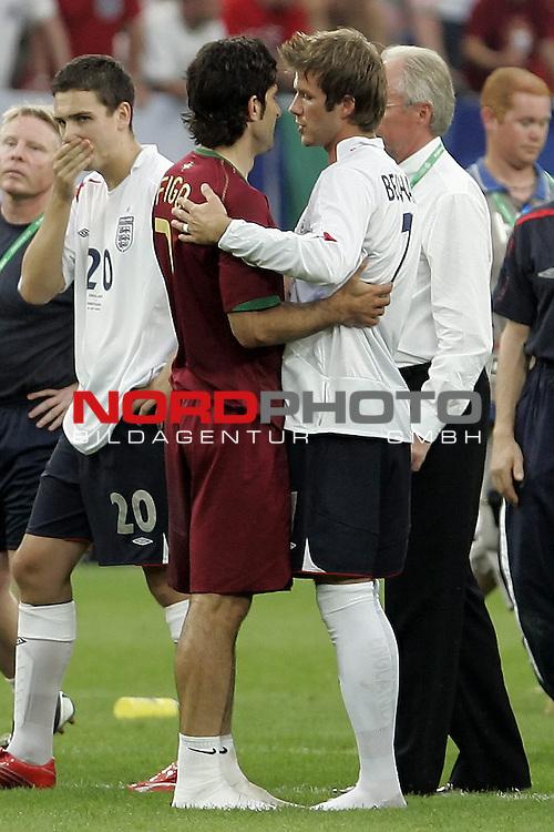FIFA WM 2006 -  Quarter Finals / Viertelfinale<br /> Play   #59  (30-Jun) - England - Portugal<br /> <br /> BECKHAM David (re ) and  Luis Figo<br /> <br /> Foto &copy; nordphoto