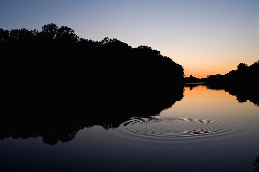 River Tisza at dusk, Hungary, June 2009.