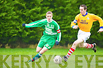 Captain fantastic Sean Brosnan, St Pat's, Castleisland goes around Alfie Hyland of Skibbereen during the second round of the Munster Vocational School cup in Mastergeeha, last Wednesday.   Copyright Kerry's Eye 2008