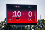 31.08.2019, Auestadion, Kassel, GER, DFB Frauen, EM Qualifikation, Deutschland vs Montenegro , DFB REGULATIONS PROHIBIT ANY USE OF PHOTOGRAPHS AS IMAGE SEQUENCES AND/OR QUASI-VIDEO<br /> <br /> im Bild | picture shows:<br /> Anzeigetafel Endstand 10:0, <br /> <br /> Foto © nordphoto / Rauch