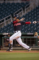 AZL Indians 1 left fielder Miguel Jerez (26) follows through on his swing during an Arizona League game against the AZL White Sox at Goodyear Ballpark on June 20, 2018 in Goodyear, Arizona. AZL Indians 1 defeated AZL White Sox 8-7. (Zachary Lucy/Four Seam Images)