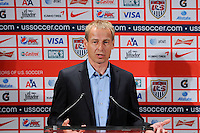 New US Men's National Team Head Coach Jurgen Klinsmann addresses the media at a press conference at NIKETOWN in New York, NY, on August 01, 2011.