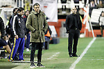Rayo Vallecano's coach Paco Jemez (r) and FC Barcelona's coach Luis Enrique Martinez during La Liga match. March 3,2016. (ALTERPHOTOS/Acero)