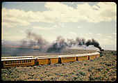 D&amp;RGW excursion train - six cars and visible combine, 3 coaches, baggage, coach.<br /> D&amp;RGW