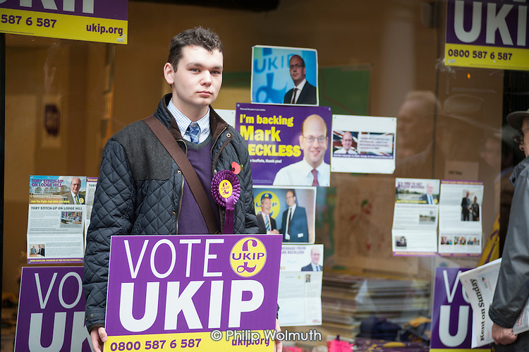 UKIP by-election campaigner outside the party's Rochester HQ, 2014.