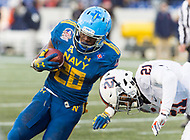 Annapolis, MD - DEC 28, 2017: Navy Midshipmen running back Josh Brown (28) is tackled by Virginia Cavaliers safety Juan Thornhill (21) during game between Virginia and Navy at the Military Bowl presented by Northrop Grunman at Navy-Marine Corps Memorial Stadium Annapolis, MD. (Photo by Phil Peters/Media Images International)