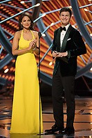 Eiza Gonzalez and Ansel Elgort present the Oscar&reg; for best sound mixing during the live ABC Telecast of The 90th Oscars&reg; at the Dolby&reg; Theatre in Hollywood, CA on Sunday, March 4, 2018.<br /> *Editorial Use Only*<br /> CAP/PLF/AMPAS<br /> Supplied by Capital Pictures
