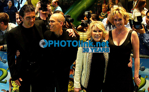 New York City<br /> CelebrityArchaeology.com<br /> 2004 FILE PHOTO<br /> ANTONIO BANDERAS, JEFFREY KATZENBERG,<br /> JOAN RIVERS, AND MELANIE GRIFFITH<br /> Photo by John Barrett-PHOTOlink.net<br /> -----<br /> CelebrityArchaeology.com, a division of PHOTOlink,<br /> preserving the art and cultural heritage of celebrity <br /> photography from decades past for the historical<br /> benefit of future generations.<br /> ——<br /> Follow us:<br /> www.linkedin.com/in/adamscull<br /> Instagram: CelebrityArchaeology<br /> Twitter: celebarcheology