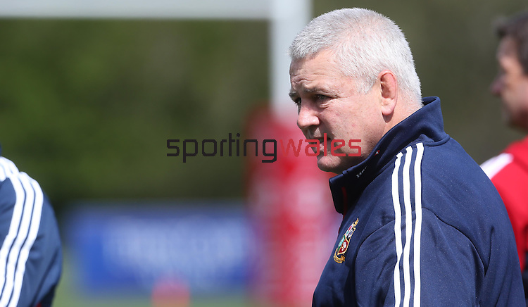 British & Irish Lions training session.Lions head coach Warren Gatland watches over his players during a training session in Wales..Vale Resort.15.05.13.©Steve Pope