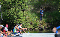 Lucerne, SWITZERLAND<br /> Fishing at the start of the men's single scull race at the <br /> 2016 European Olympic Qualifying Regatta, Lake Rotsee.<br /> <br /> Sunday  22/05/2016<br /> <br /> [Mandatory Credit; Peter SPURRIER/Intersport-images]
