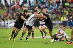 Charlie Ngatai (L), Ben May, Otere Black. Maori All Blacks vs. Fiji. Suva. MAB's won 27-26. July 11, 2015. Photo: Marc Weakley