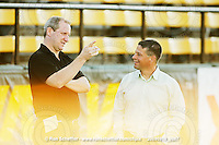 September 18, 2009; Hamilton, ON, CAN; Hamilton Tiger-Cats president Scott Mitchell and head coach Marcel Bellefeuille chat prior to the game. CFL football: Calgary Stampeders vs. Hamilton Tiger-Cats at Ivor Wynne Stadium. The Tiger-Cats defeated the Stampeders 24-17. Mandatory Credit: Ron Scheffler. Copyright (c) 2009 Ron Scheffler.