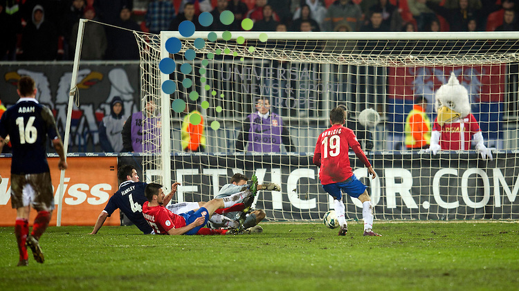 Filip Duricic of Serbia scores the second goal for his team during the Fifa World Cup Qualifier between Serbia and Scotland at Stadion Karadorde, Novi Sad, Serbia. 26 March 2013. Picture by Ian Sneddon / Universal News and Sport (Scotland). All pictures must be credited to www.universalnewsandsport.com. (Office) 0844 884 51 22. .