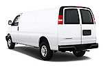 Car pictures of rear three quarter view of a 2017 Chevrolet Express 3500 3500 Extended Work Van 4 Door Cargo Van angular rear
