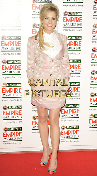 Joanne Froggatt.The 18th Jameson Empire Film Awards at Grosvenor House, London, England..March 24th, 2013.full length pink white blouse shirt blazer dress suit skirt hands in pockets .CAP/DS.©Dudley Smith/Capital Pictures