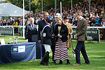 Stamford, Lincolnshire, United Kingdom, 8th September 2019, Pippa Funnell receives the winners cup from HRH Countess of Wessex during the prize giving after winning the 2019 Land Rover Burghley Horse Trials, Credit: Jonathan Clarke/JPC Images