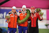SCHAATSEN: HAMAR: Vikingskipet, 11-01-2014, Essent ISU European Championship Allround, Podium Men, Koen Verweij (NED), Jan Blokhuijsen (NED), Håvard Bøkko (NOR), ©foto Martin de Jong