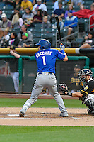 Gavin Cecchini (1) of the Las Vegas 51s at bat against the Salt Lake Bees in Pacific Coast League action at Smith's Ballpark on September 4, 2016 in Salt Lake City, Utah. The Bees defeated the 51s 4-3. (Stephen Smith/Four Seam Images)